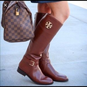 Tory Burch Adeline Tan Riding Boot Size 8